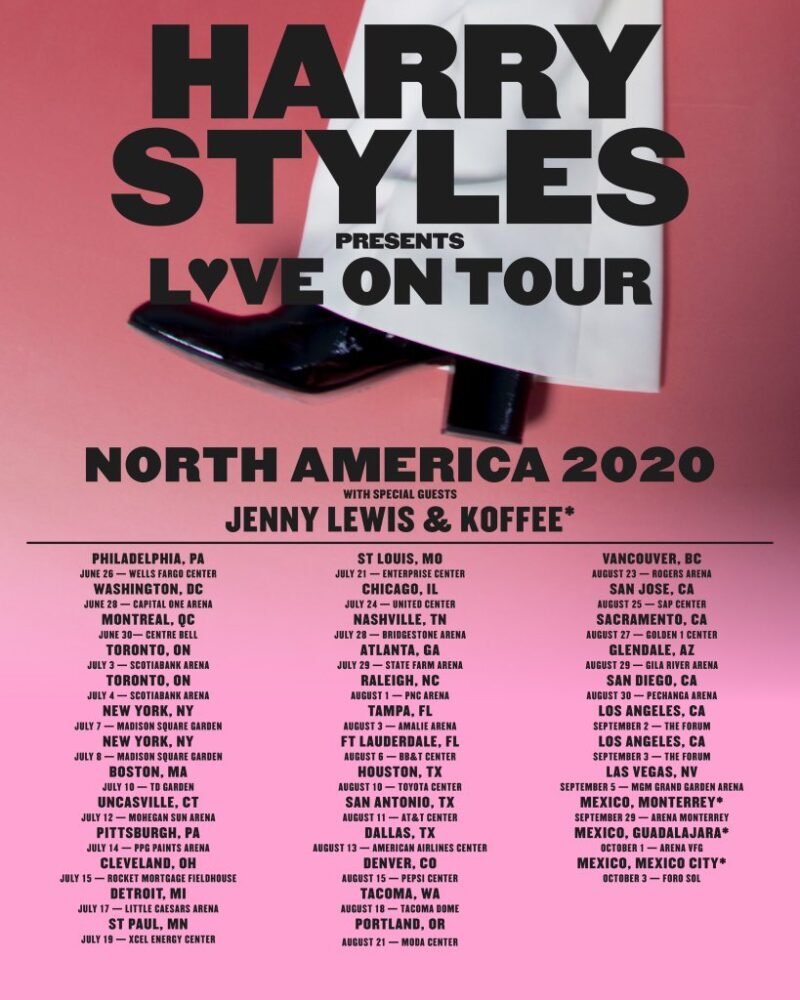 Pink Tour 2020.Harry Styles Announces Love On Tour For 2020 Nerds And